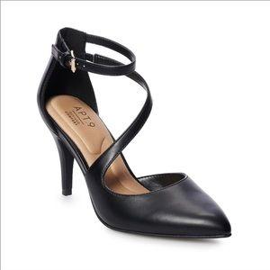 NEW Apt9 Frittata Black Woman's Pump w Ankle Strap